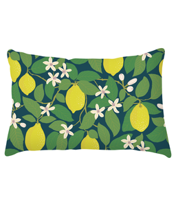 "Cushion, lumbar, ""Lemon Tree"""