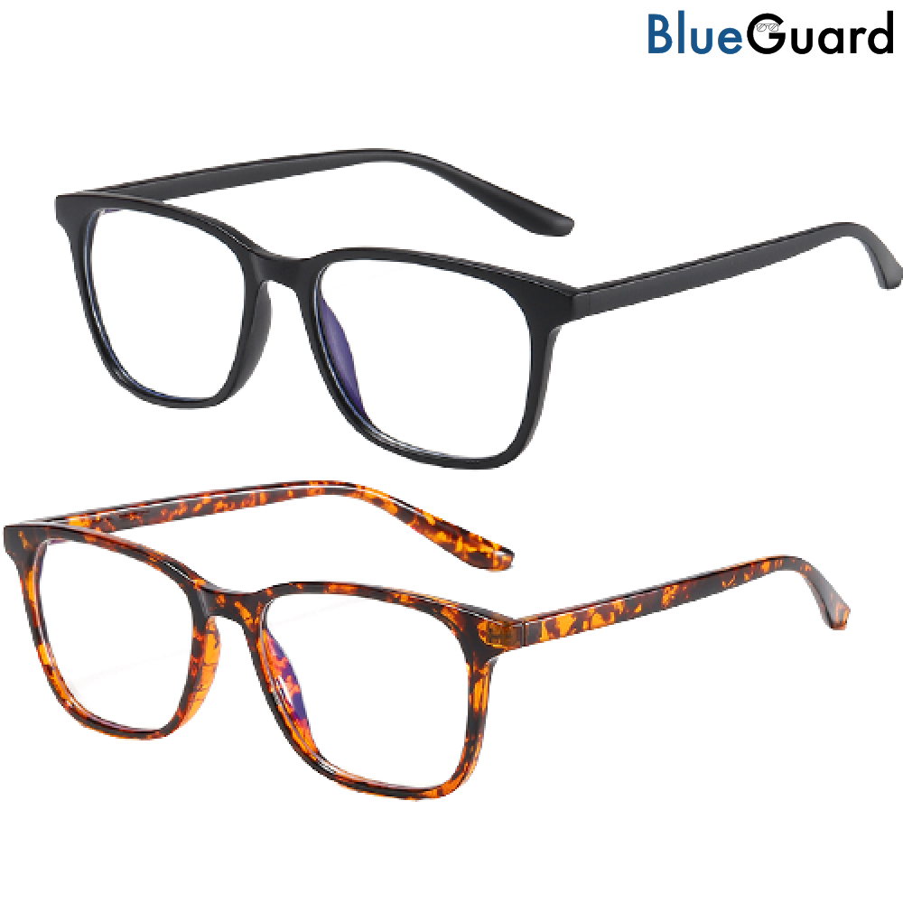 2 BlueGuard Eyewear - Blue Light Glasses (Black & Tortoise)