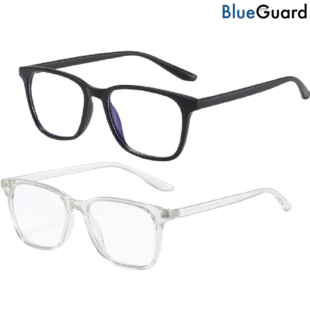 2 BlueGuard Eyewear - Blue Light Glasses (Black & Clear)