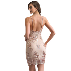 Meecero — Backless V-neck Luxury Dress