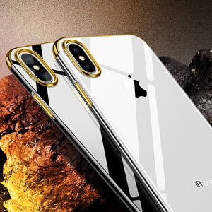 Crystal X - Ultra Premium Frame Color Case Cover for iPhoneX Elastic Gold