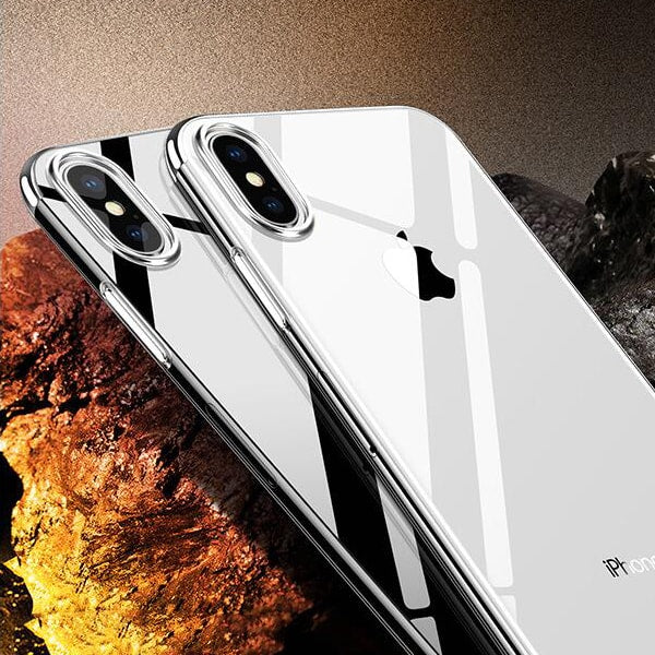 Crystal X - Ultra Premium Frame Color Case Cover for iPhoneX Elastic Silver