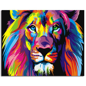 Rainbow Lion - Paint-by-Number Kit