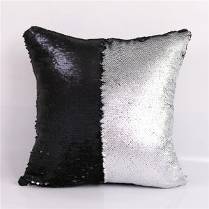 CaseTrumbo — DIY Mermaid Sequin Cushion Cover Magical Pink Throw Pillowcase 40cmX40cm Color Changing Reversible Pillow Case