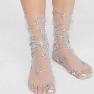 Leeci — Soft Mesh Glitter Star Socks for Women