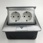 Kayzz — All Aluminum Panel EU Standard Pop Up Floor Socket 2 Way Electrical Outlet Modular Combination Customized Available