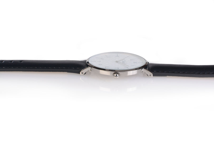 Al-Awwal Light - Liquid Silver Watch Case with Black Leather Strap
