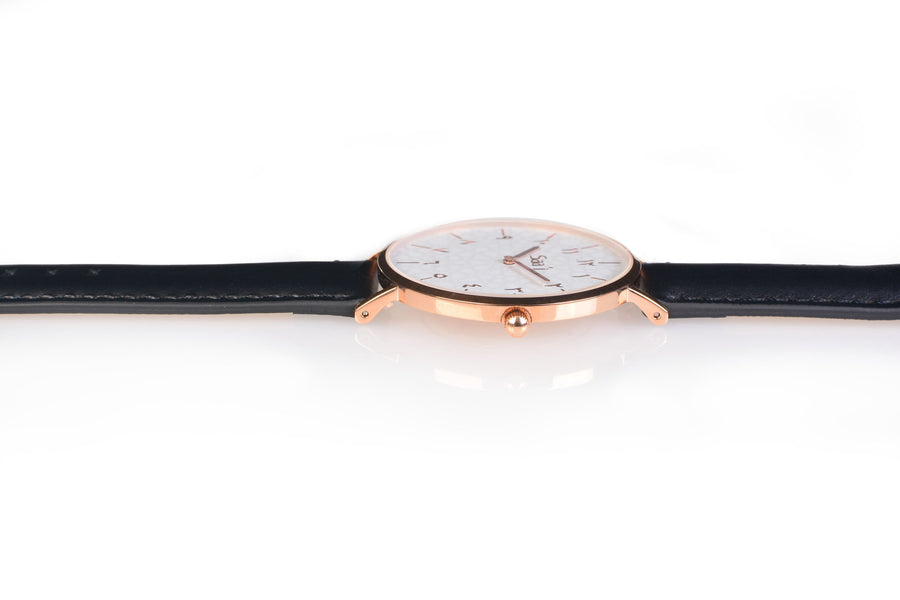 Al-Awwal Light - Twilight Gold Watch Case with Black Leather Strap