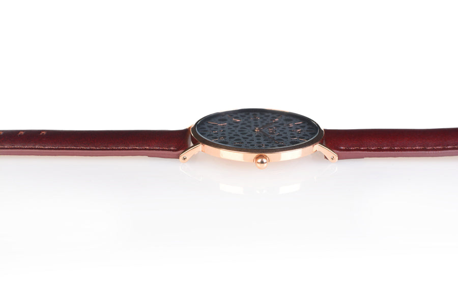 Al-Awwal Dark - Twilight Gold Watch Case with Brown Leather Strap