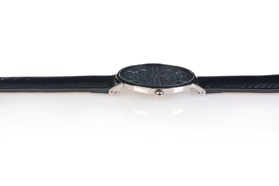 Al-Awwal Dark - Liquid Silver Watch Case with Black Leather Strap