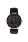 Al-Awwal Dark - Twilight Gold Watch Case with Black Leather Strap