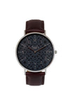 Al-Awwal Dark - Liquid Silver Watch Case with Brown Leather Strap