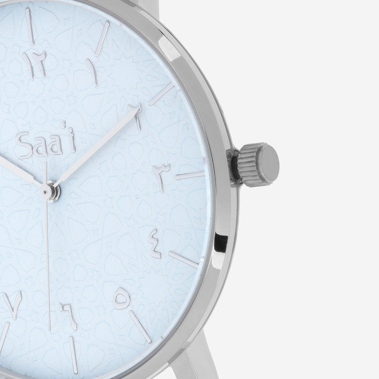 ITHNAAN - Azure Watch Face with Grey Leather Strap
