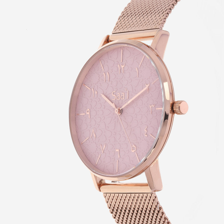 ITHNAAN - Blush Watch Face with Gold Metal Strap