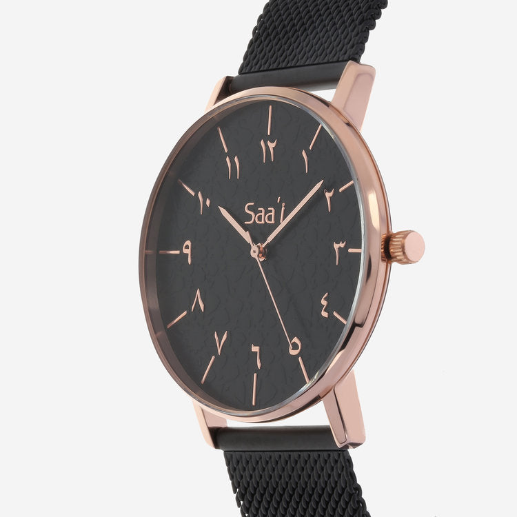 ITHNAAN - Noir/Rose Gold Watch Face with Black Leather Strap