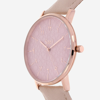 ITHNAAN - Blush Watch Face with Cream Leather Strap