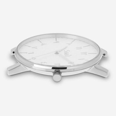 ITHNAAN - Blanc Watch Face with Silver Metal Strap