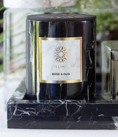 Rose & Oud Luxury Scented Candle - Black Marble with Black Wax