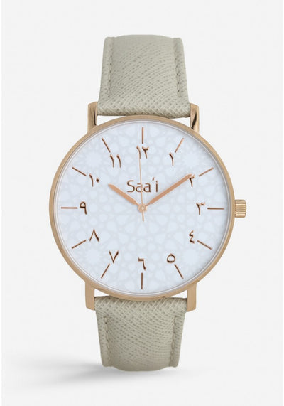 ITHNAAN - Blanc/Rose Gold Watch Face with Cream Leather Strap