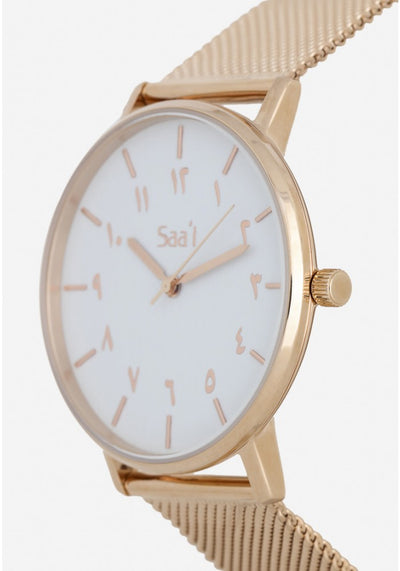 ITHNAAN - Blanc Watch Face with Rose Gold Metal Strap