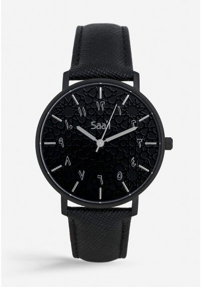 ITHNAAN - Noir Watch Face with Black Leather Strap