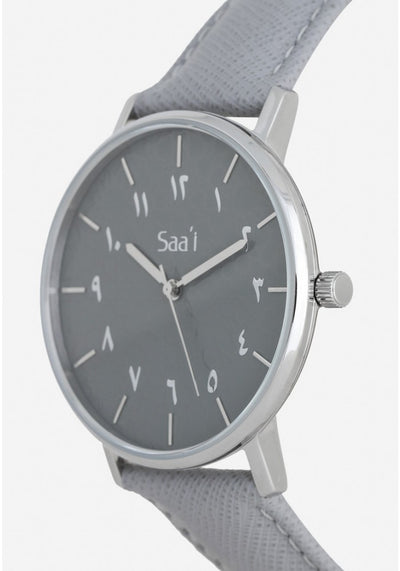 ITHNAAN - Ash Watch Face with Grey Leather Strap