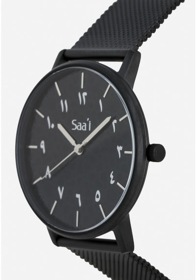 ITHNAAN - Noir Watch Face with Black Metal Strap