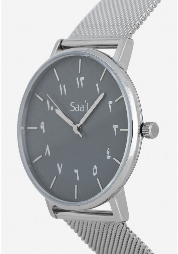 ITHNAAN - Liquid Silver Watch Face with Silver Metal Strap