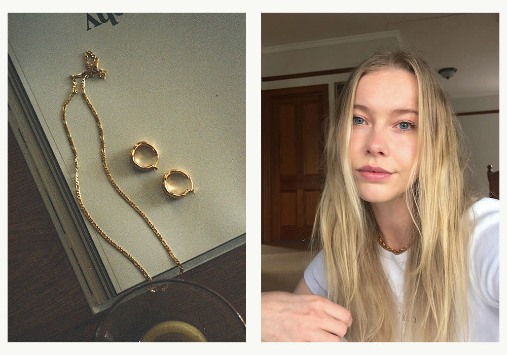Ashleigh Brooksbank Abuelo Chain Necklace, Organica Earrings, Link Chain Necklace Gold. Brie Leon Jewelery and Handbags