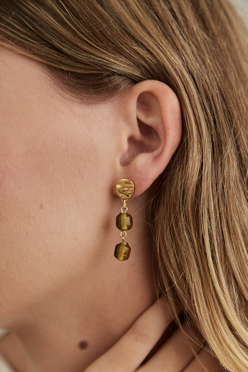 Glass Bead Double Drop Studs Gold/Matcha