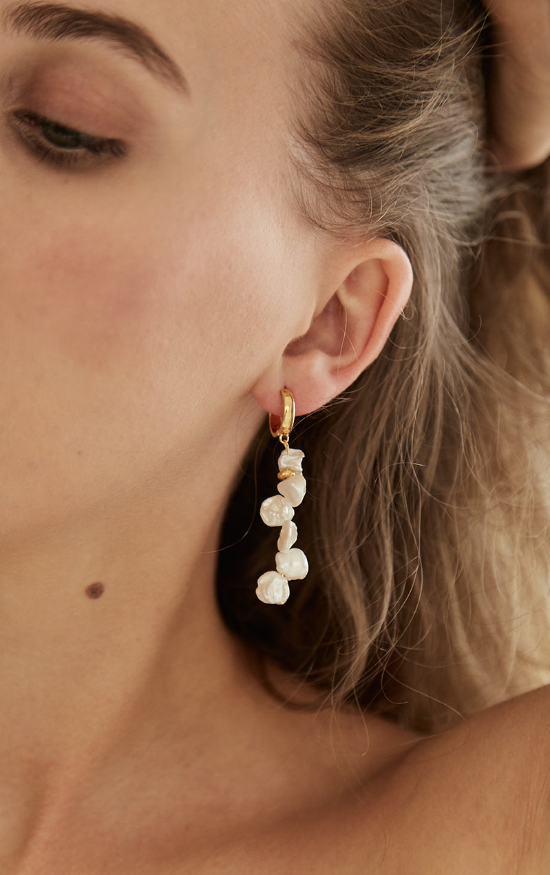 Large Pearl Cluster Drop Earrings Gold