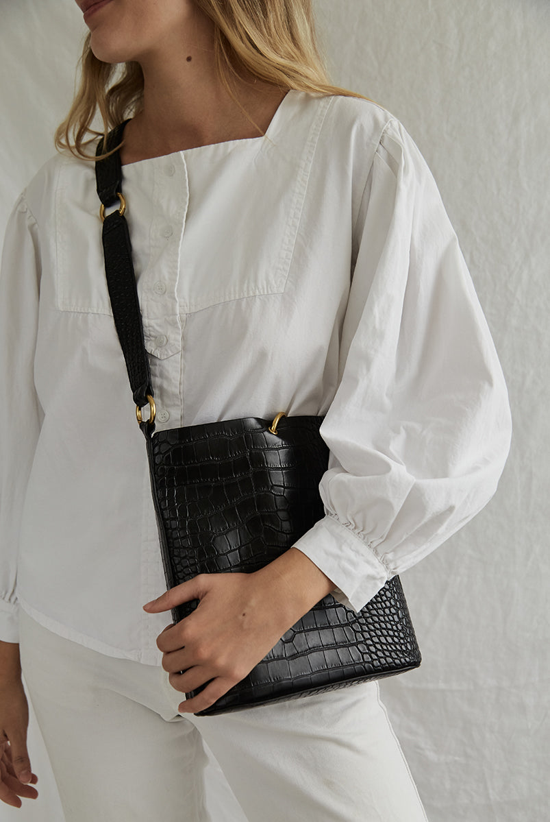 Mini Bucket Bag Black Matte Croc
