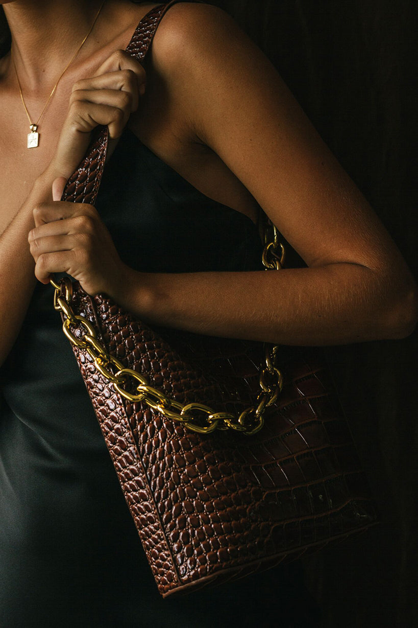 Mini Bucket Bag Dark Brown Croc w/ Gold Chain (detachable)