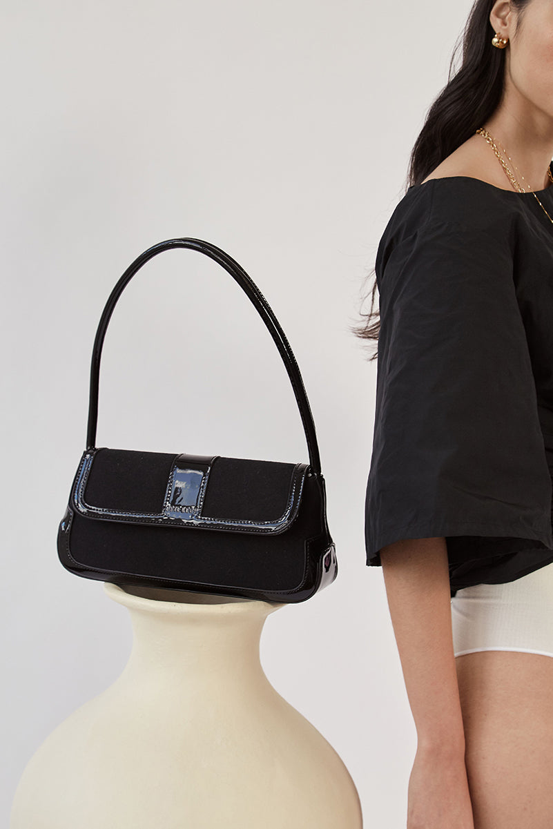 The Camille Black Patent/Black Canvas