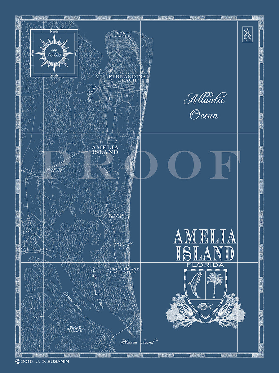 Map of Amelia Island, FL | Custom maps | Bank & Surf - Bank and Surf