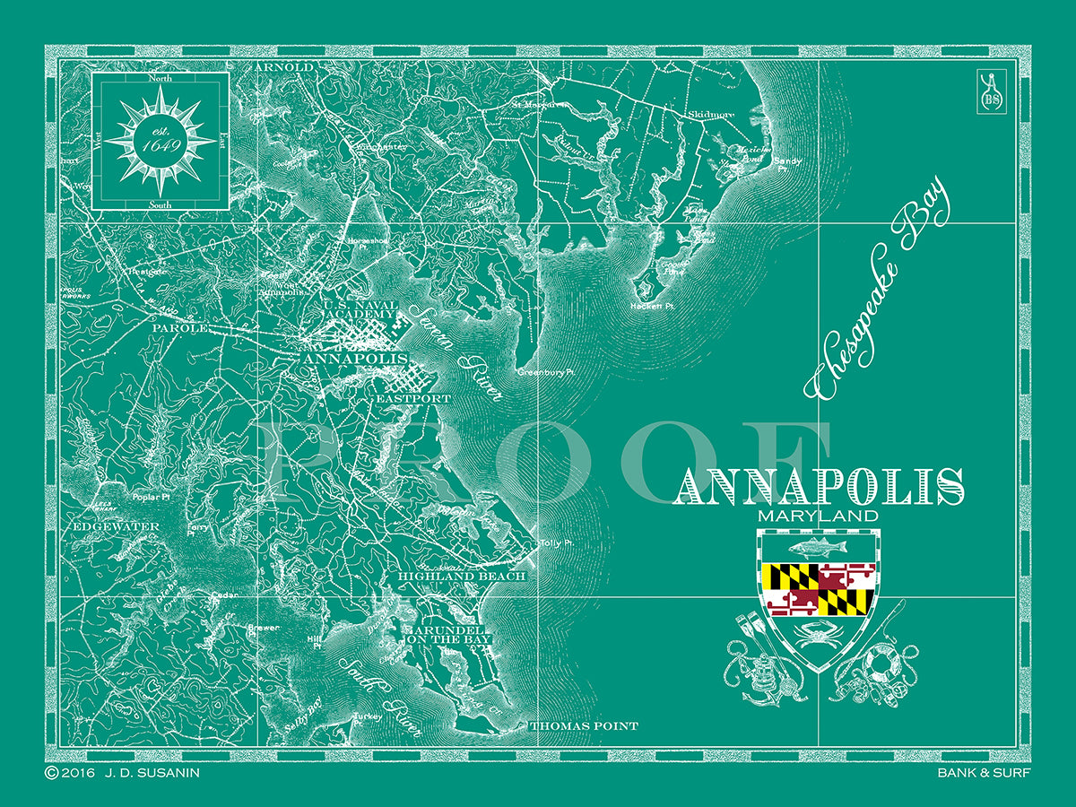 Map of Annapolis, MD | Custom maps | Bank & Surf - Bank and Surf