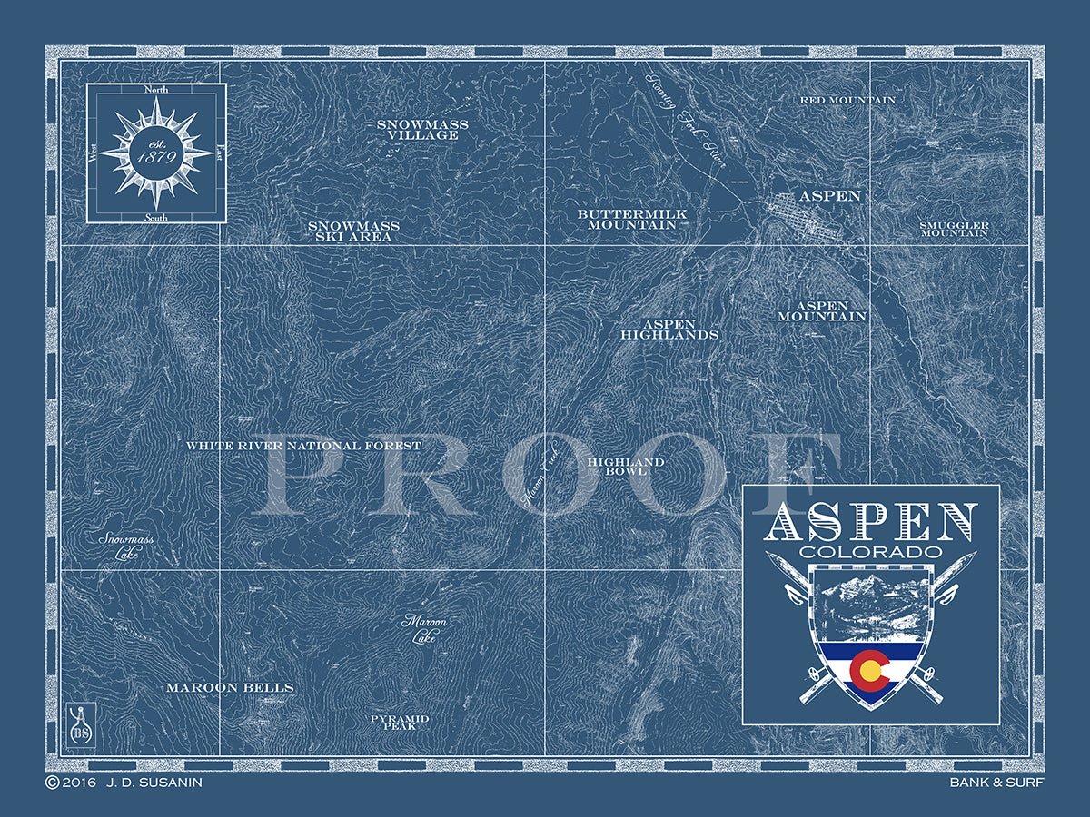 Map of Aspen, CO | Custom maps | Bank & Surf - Bank and Surf