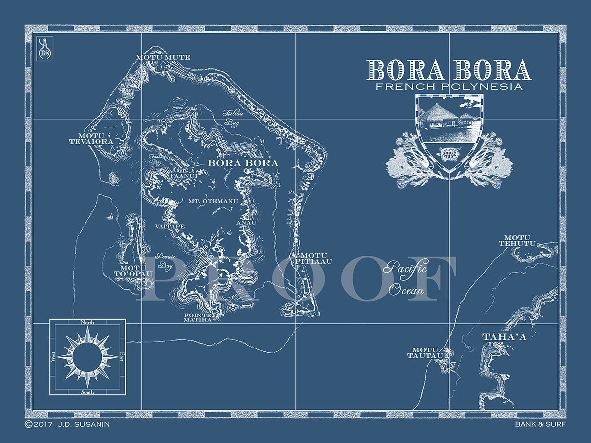 Map of Bora Bora, French Polynesia | Custom maps | Bank & Surf ...