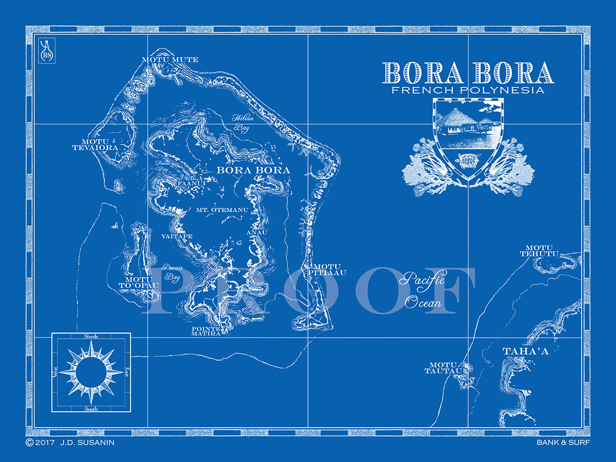 Map of Bora Bora, French Polynesia