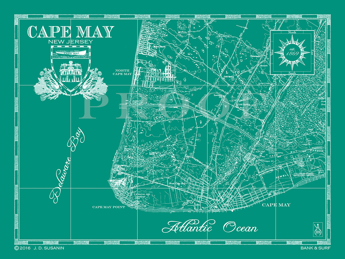 Map of Cape May, NJ |Bank and Surf |Custom Maps Cape May Nj Map on