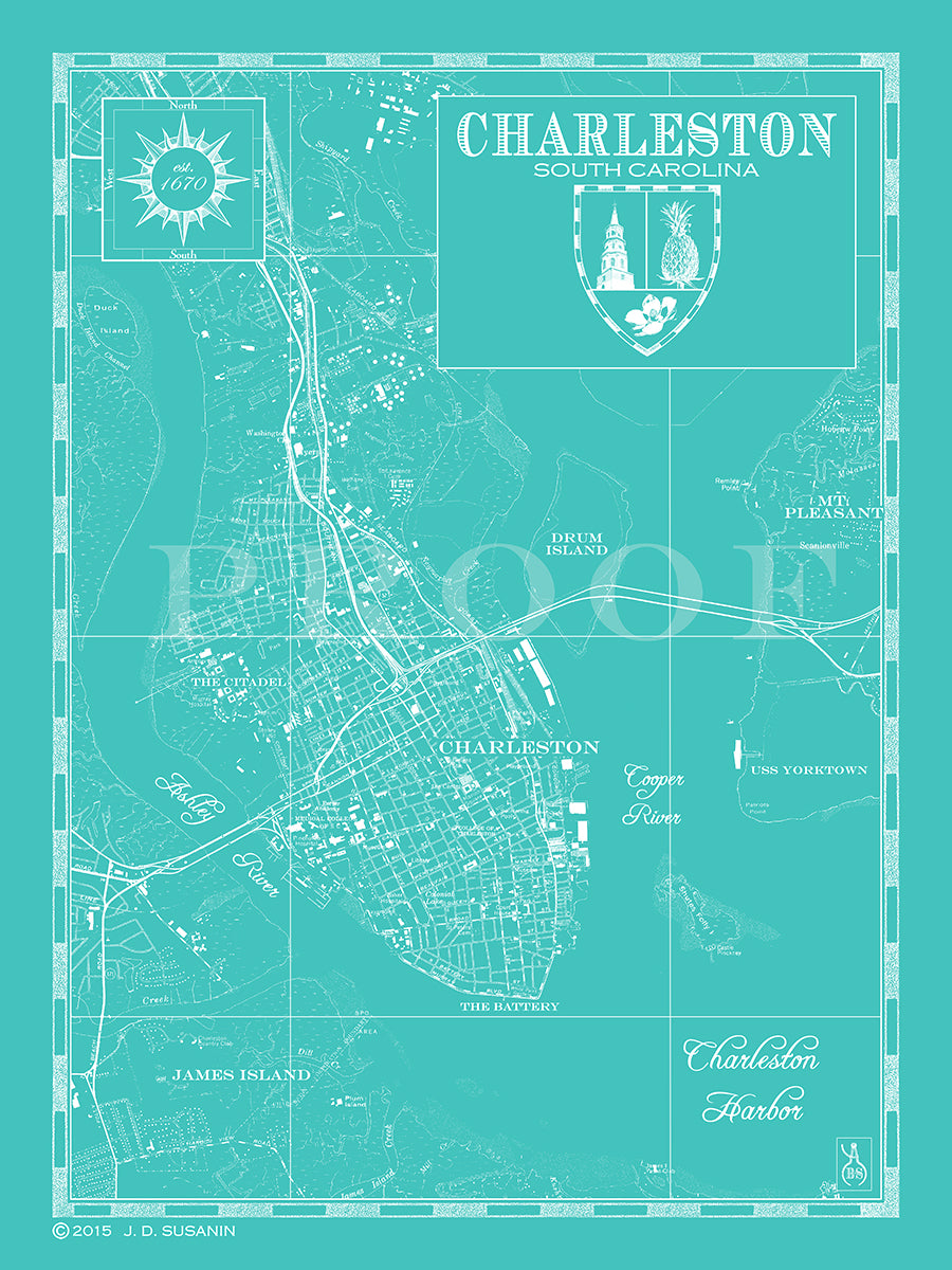 Map of Charleston SC Custom maps Bank Surf Bank and Surf