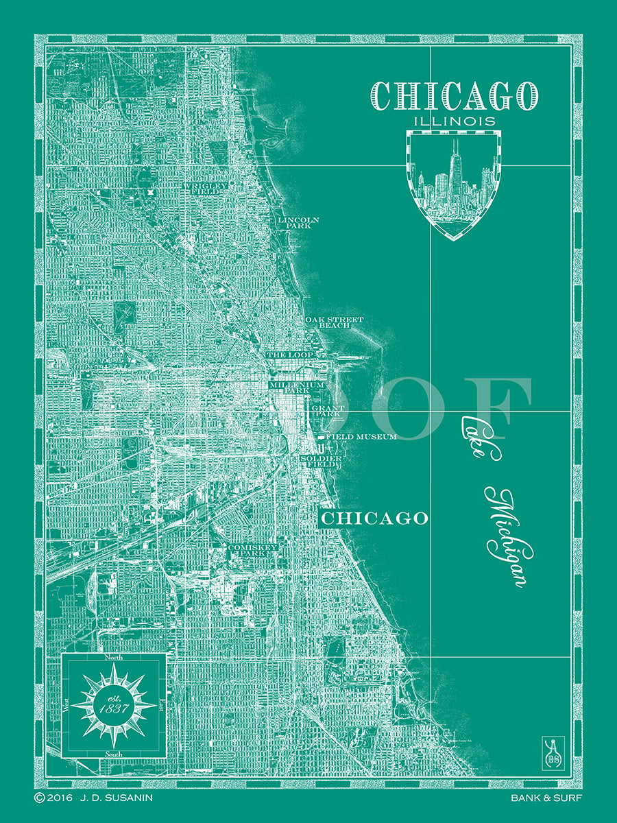 Map of Chicago, IL   Custom maps   Bank & Surf - Bank and Surf