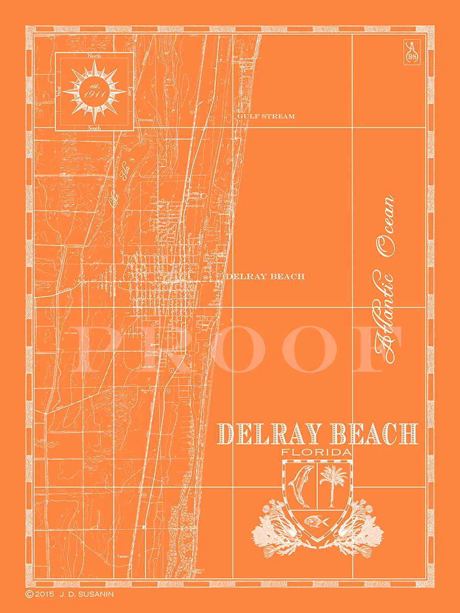 Map Of Delray Beach Florida.Map Of Delray Beach Fl Custom Maps Bank Surf Bank And Surf