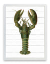 Framed Lobster Print - Green Lobster on Shiplap