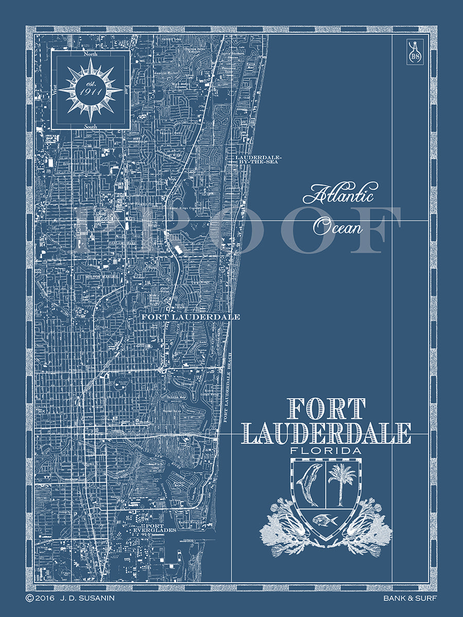 Lauderdale Florida Map.Map Of Fort Lauderdale Fl Custom Maps Bank Surf Bank And Surf