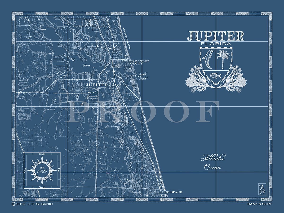 Map Of Florida Showing Jupiter.Map Of Jupiter Fl Custom Maps Bank Surf Bank And Surf