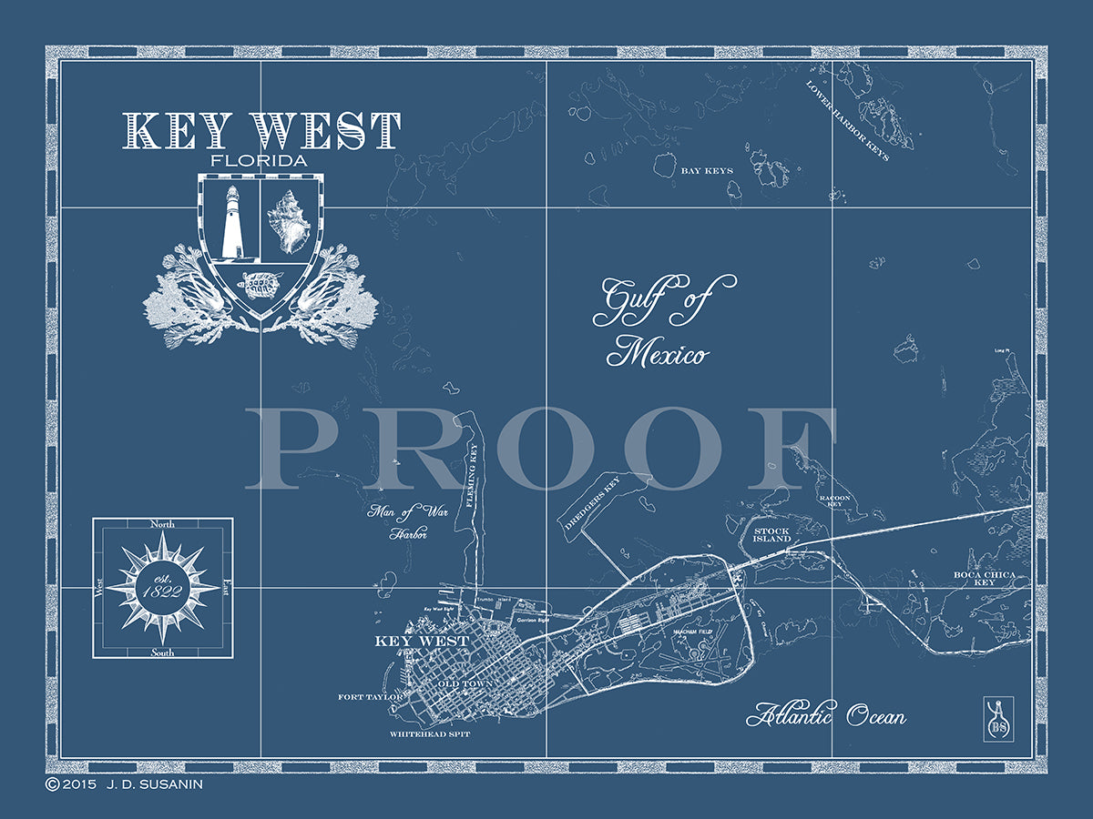Map Of Key West Fl Custom Maps Bank Surf Bank And Surf