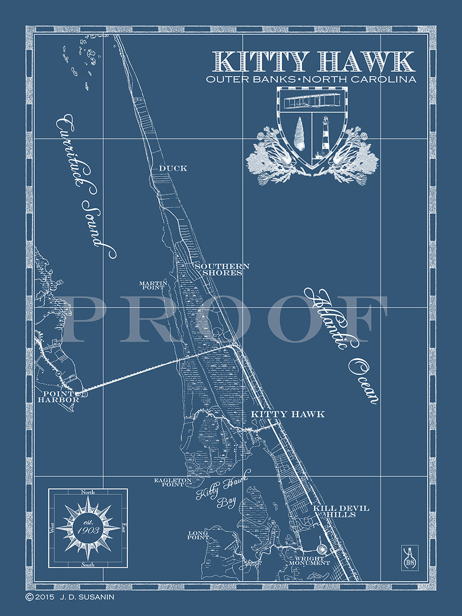Map Of Kitty Hawk Outer Banks Nc Custom Maps Bank Surf
