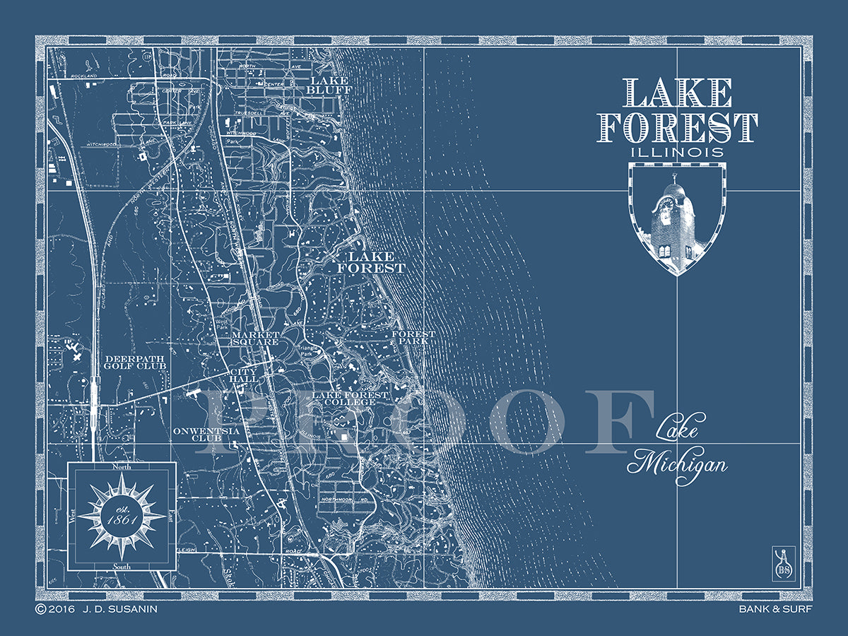 Map of Lake Forest, Il | Custom maps | Bank & Surf - Bank and Surf