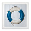 Framed Life Preserver on Beadboard - Blue
